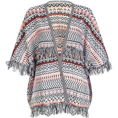 Urban Bliss Black Pattern Aztec Tassle Cardigan ($38) ❤ liked on Polyvore featuring tops, cardigans, black 3/4 sleeve top, open front cardigan, fringe top, fringe cardigan y black 3 4 sleeve cardigan