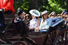 Princess Beatrice and Eugenie are pictured arriving at the celebration by Clarence House...