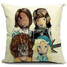 Animal Band Cotton/Linen Decorative Pillow Cover - CAD $20.84 Abba