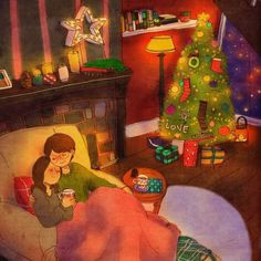 """Puuung ❤️ Is. 이미지 Christmas Eve """"We drank coffees while listening to carols"""" Illustration Photo, Couple Illustration, Love Is Sweet, Cute Love, Puuung Love Is, Cute Couple Art, Art Anime, Couple Drawings, Korean Artist"""
