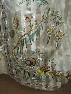 Detail of embroidery, 1760s gown, Musee du tissu de Lyon.