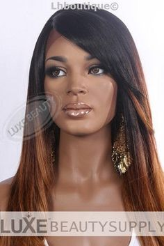 Heat Safe LACE FRONT WIG Swiss Lace Long Straight OMBRE Black Honey Blond Brown #SwissLaceFront= 99$