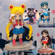 New 4pc Lot Sailor Moon Mercury Mars Luna Cat Figure Set Figurine Statue | eBay