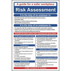 Risk Assessment Poster / Wall Chart – ESE Direct Source by Health And Safety Poster, Safety Posters, Safety Management System, Risk Management, Building Management, Emergency Management, Safety Talk, Fire Safety, Risk Matrix