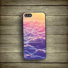iPhone 5 case cosmic triangle, iPhone 4 case, ombre neon clouds iPhone 5s case, hipster iPhone case, by Kaladu