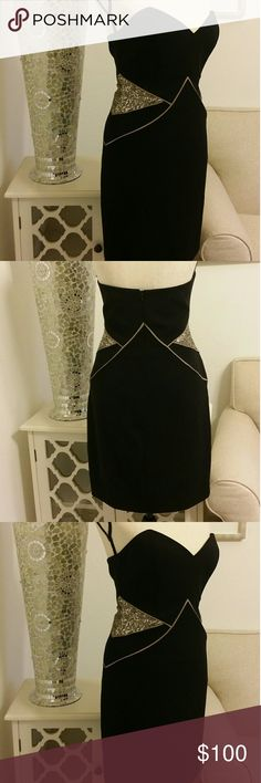 Jay Godfrey Black and Gold Cocktail Dress Sexy Jay Godfrey Black and Gold Cocktail Dress From Neiman Marcus. Size 8. 95% Polyester 5% Spandex Lining:100% Nylon. Bust approx 15 inches, Top to Bottom approx 28 1/2 inches waist across is 15 inches. Jay Godfrey Dresses Strapless