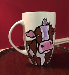 Cow Mug, large hand painted coffee mug by Ana Peralta by DecoArtz on Etsy https://www.etsy.com/listing/471399352/cow-mug-large-hand-painted-coffee-mug-by