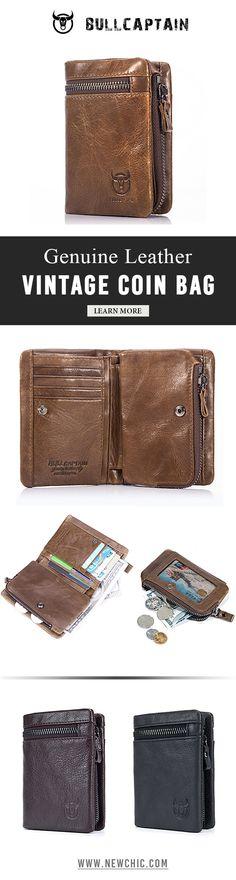 BULLCAPTAIN 11 card Slots Wallet Genuine Leather Vintage Coin Bag For Men