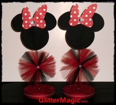 SET OF 2  Minnie Mouse Red Polka Dots by GlitterMagic23s on Etsy, $20.00