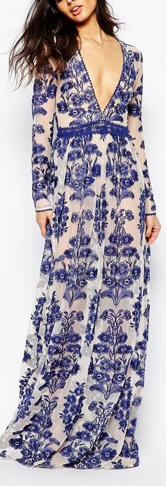 embroidered v neck maxi