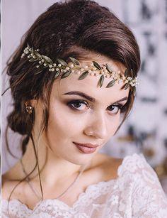 Bridal Hair Vine Wedding hair vine Gold leaf hair vine Long