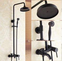 Antique Black Bronze Brass Bathroom Waterfall Shower Tap Set TFB558