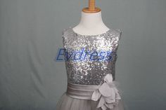 2015 long silver sequins girls' dresses for wedding by Evdress