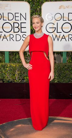 Jennifer Lawrence walked the red carpet in a red Dior gown at the 2016 Golden Globes