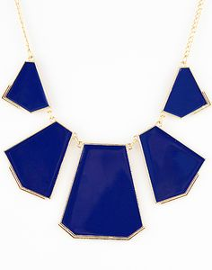 #SheInside Blue Collar Geometry Irregular Pendant Necklace - Sheinside.com