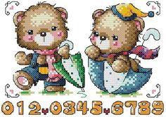 Bear Cartoon, Cross Stitch Animals, All Craft, Cross Stitch Patterns, Teddy Bear, Embroidery, Children, Crochet, Crafts