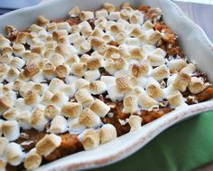 Michael Strahan's Sweet Potato Casserole with Marshmallows | #thanksgiving #autumn #holiday #food #desserts #baking
