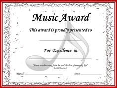 MUSIC AWARD CERTIFICATES *editable*  41 **editable** certificates making it possible for you to add your students' names!