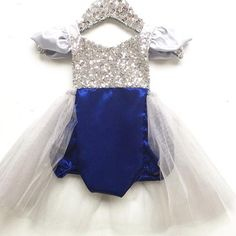 Holiday Sparkle in Blue and Silver Tutu Sparkle Romper