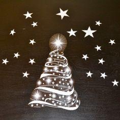 Christmas Tree and Stars Sheet of Window Clings