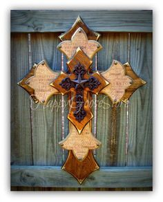 Wall CROSS - Wood Cross - Large - Medium Brown Stain, Religious wording, with iron cross and star by happygoose on Etsy https://www.etsy.com/listing/151254219/wall-cross-wood-cross-large-medium-brown