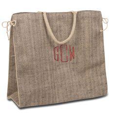 Monogram Herringbone Tweed Tote Bag My Happy Place acd287835ce05