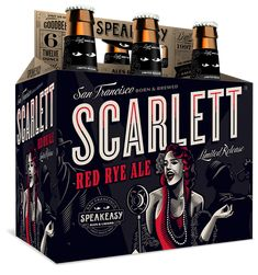 Speakeasy Ales & Lagers Scarlett Red Rye Ale 12oz. 6-pack - designed by Emrich Office