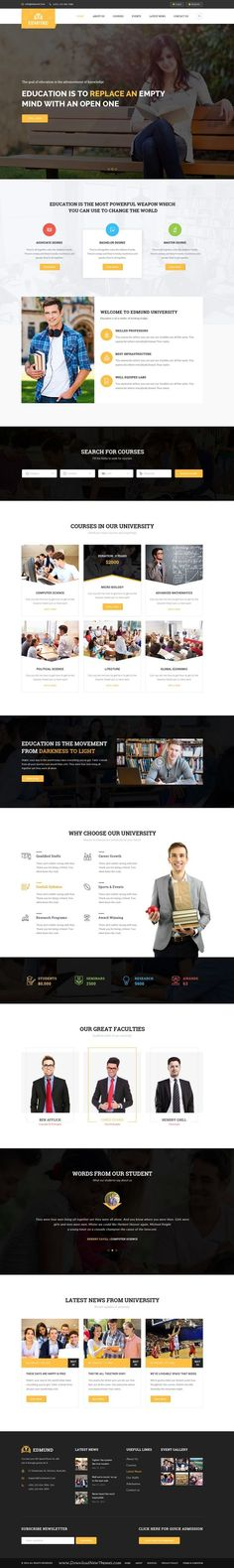 Edmund is wonderful premium #PSD Template for multipurpose #Education #website, includes 20 Total Pages. Download Now!: