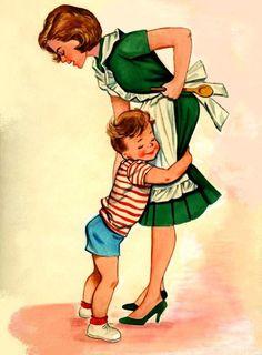 Retro tekening van een mama en haar zoontje