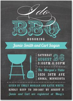 I Do BBQ Script Turquoise Party Invitations,   Chalkboard Invitations 36032