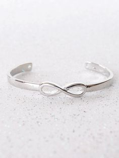 Silver Infinity Symbol Cuff Bracelet | Black Tied