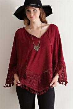 V-Neck Crochet Lace Poncho - Burgundy