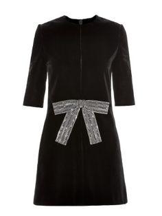 Babydoll crystal bow-front velvet mini dress | Saint Laurent | MATCHESFASHION.COM US