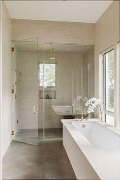 bad design ohne fliesen sichtbeton wand holz badmöbel badewanne ...