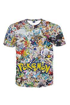2427d109 CHICOCO Unisex Lifelike Explosion 3D Digital Printed Crew… T Shirt Pokemon, Pokemon  T,