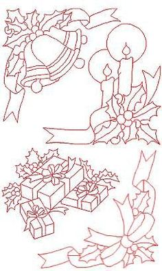 Advanced Embroidery Designs - Christmas Redwork Set II