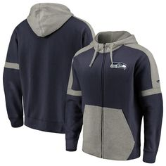 5816ed1ead69e Men's NFL Pro Line by Fanatics Branded College Navy/Heathered Gray Seattle  Seahawks Big & Tall Iconic Full-Zip Hoodie