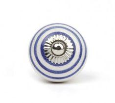 Gałka do mebli Pierścienie biało-granatowe (duża)