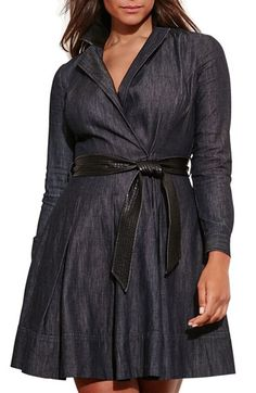 Free shipping and returns on Lauren Ralph Lauren Denim Wrap Dress (Plus Size) at Nordstrom.com. Dark-wash denim with sleek faux-leather details brings a touch of edge to a wrapped fit-and-flare dress with sharply tailored style. Princess seaming structures the surplice bodice, release pleats flare the above-knee skirt and a wide, channel-stitched belt accentuates the waist.