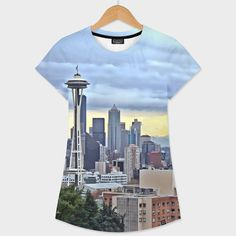 Discover «Seattle Skyline in Fog and Rain LARGE», Numbered Edition Women's All Over T-Shirt by Elaine Plesser - From $39 - Curioos