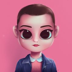 Cartoon, Portrait, Digital Art, Digital Drawing, Digital Painting, Character Design, Drawing, Big Eyes, Cute, Illustration, Art, Girl, Eleven, Stranger Things, Millie Bobby Brown