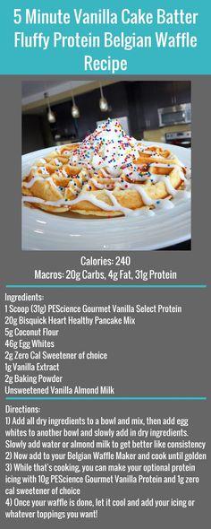 Saturday Morning 5 Minute Vanilla Cake Batter Fluffy Protein Belgian Waffle Free Recipe #FlexibleDietingLifestyle #IfItFitsYourLifestyle