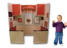 Fabulous cardboard kitchen by Louise Skidmore on Folksy. Kids Table And Chairs, Kid Table, Mini Kitchen, Kitchen Sets, Cardboard Kitchen, Nursery School, Imaginative Play, Kid Names, Ministry
