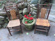Pair signed Old Hickory chairs with 3 finger gallery on panel back. SOLD Christibys