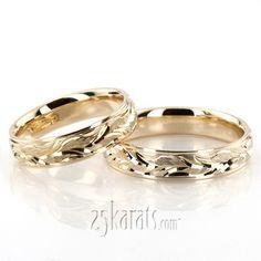 Floral Carved Fancy Wedding Ring Set; together = $1400