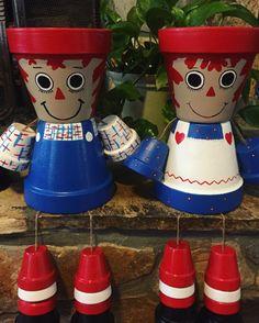 Raggedy Ann Flower Pot Girl/ flower pot/ indoor by ShadyPenguins