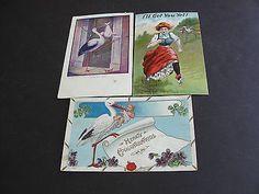 Vintage-1900s-Early-SET-OF-3-Comic-Posted-Postcards-Storks-Babies