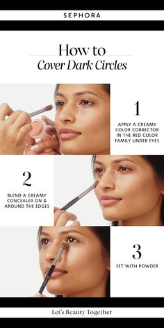 Learn how to cover dark circles. Want more details? Click the image to watch a full tutorial on our YouTube channel.
