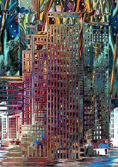 Artist Made Fabric Panel Starry Night Sky City Scene Buildings Fiber Art Skyscaper