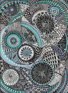 Zentangle  By Lynne Howard - layers of circles - teach how to make certain patterns